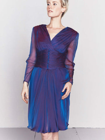 Vintage 1980s Iridescent Purple Cocktail Dress