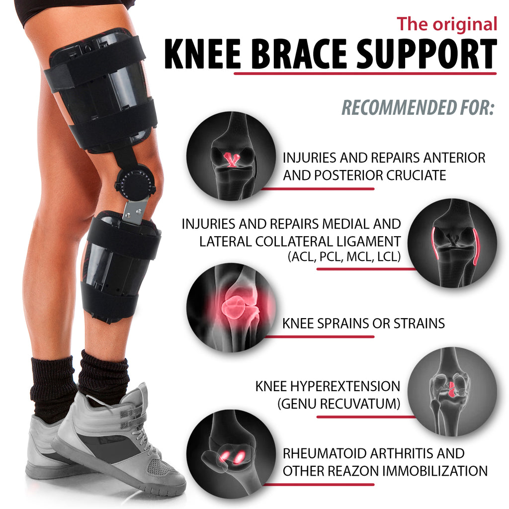Hinged Adjustable Knee Brace Support Stabilizer Immobilizer