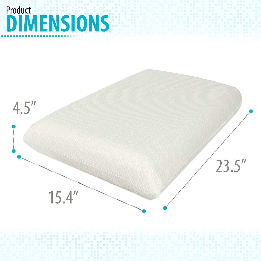 Memory Foam Pillow, Bed Pillow for Sleeping, Pillow for Neck Pain, Neck Support for Back, Stomach, Side Sleepers (23.5 x 15.4 x 4.5)