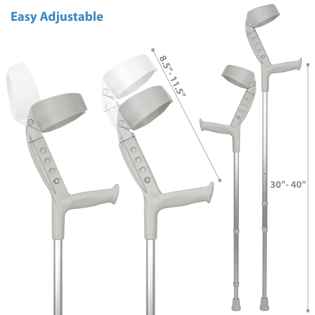 Progress-II Adult Walking Forearm Crutches with Closed Cuff and Adjustable Arm Support
