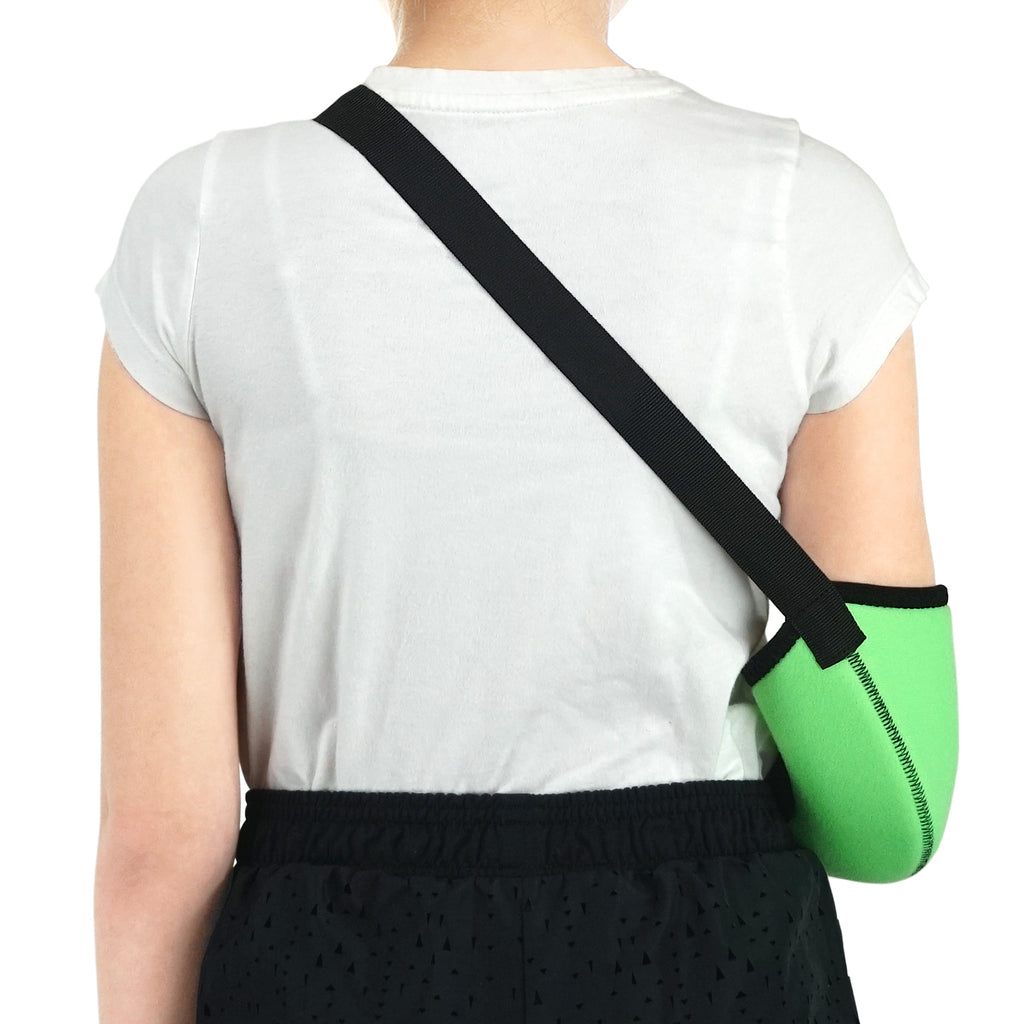 Kids Arm Support Sling Shoulder Immobilizer Brace – Breathable and Lightweight – Fully Adjustable / ACJB2410-GN
