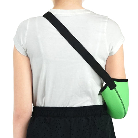 Image of Kids Arm Support Sling Shoulder Immobilizer Brace – Breathable and Lightweight – Fully Adjustable / ACJB2410-GN