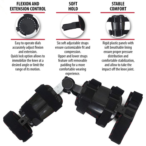 Image of Hinged Adjustable Knee Brace Support Stabilizer Immobilizer