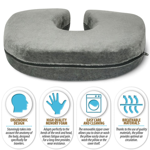 Memory Foam Travel Neck Pillow (12 x 10.5 x 3)