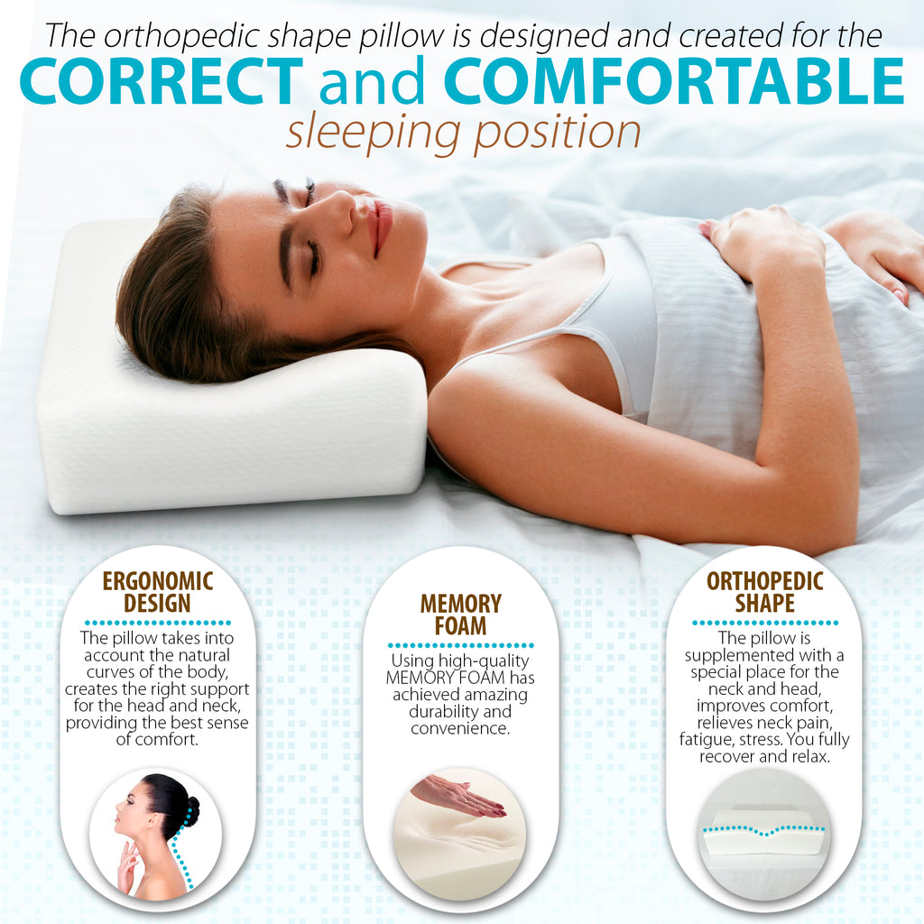 Orthopedic Ergonomic Contoured Memory Foam Pillow, Cervical Pillow (21 x 16 x 4.7/4)