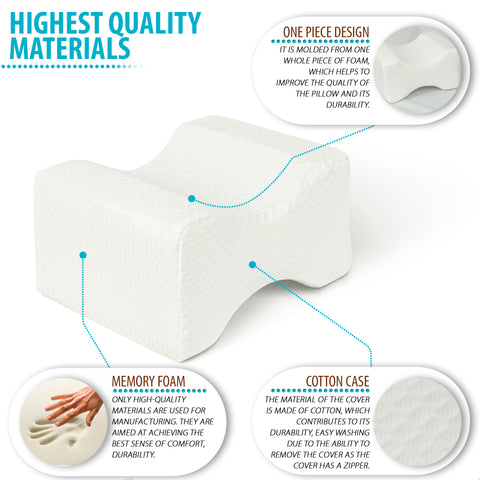 Image of Knee Pillow for Side Sleepers - Memory Foam Wedge Contour with Washable Cotton Cover - Back Pain, Pregnancy Support - Sciatica, Hip, Joint, Surgery Pain Relief (10 x 7.5 x 5.5)