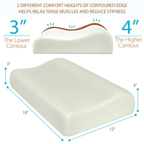 Orthopedic Contoured Memory Foam Pillow, Cervical Pillow (18 x 12 * 4/3)