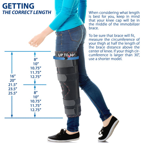 Adjustable Tri-Panel Straight Leg Support Knee Immobilizer Brace