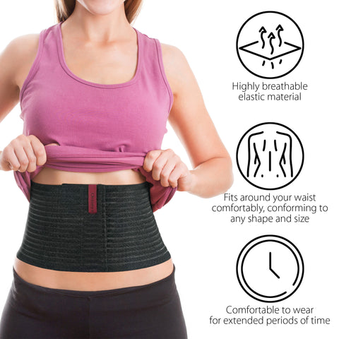 "Image of 6.25"" Abdominal Binder for Men and Women - Black"
