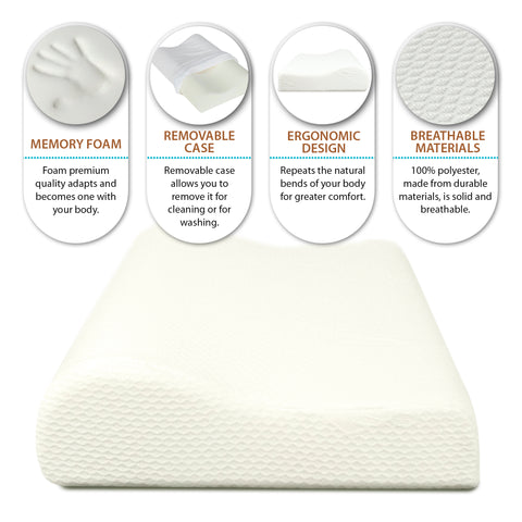 Image of Orthopedic Contoured Memory Foam Pillow, Cervical Pillow (23.5 x 15.5 x 5.5/4.5)