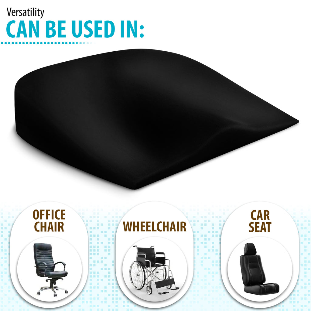 Orthopaedic Wedge Cushion Memory Foam and Removable Cover - Good for Posture - Coccyx Cushion Ideal As an Office Chair Cushion, Car Seat Cushion & Wheelchair Cushion (16.5 x 15.5 x 3)