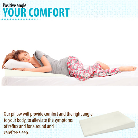 "6"" Acid Reflux Wedge Pillow - 100% Memory Foam and Removable Microfiber Cover (39.5x31.5x6 /0.8)"
