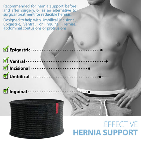 Image of Premium Umbilical Hernia Belt for Men and Women - Abdominal Support Binder - Black