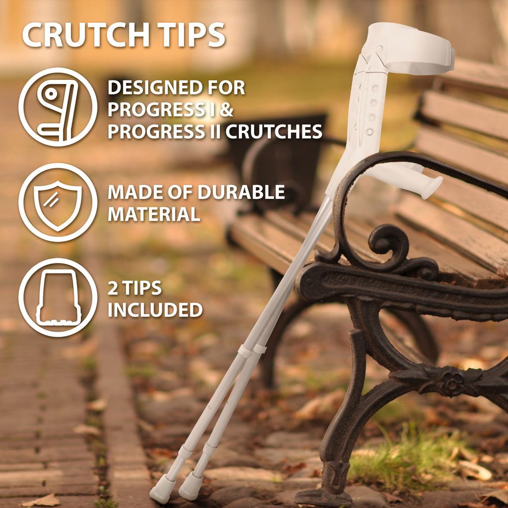 Crutch Tips (1 Pair) – Light Gray