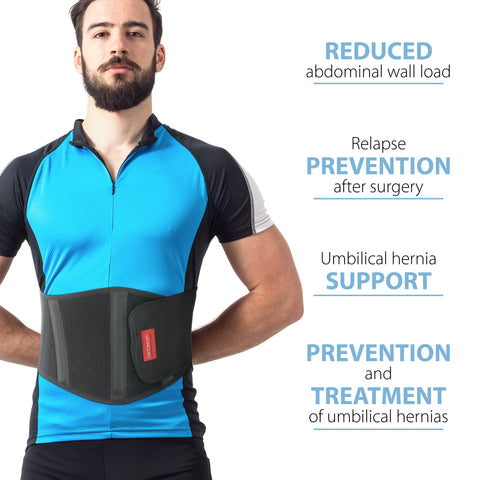 Image of Ergonomic Umbilical Navel Hernia Belt / Abdominal Support Brace - Black