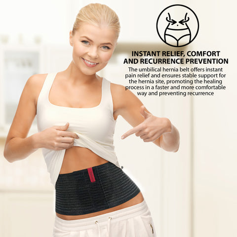 Premium Umbilical Hernia Belt for Men and Women - Abdominal Support Binder - Black