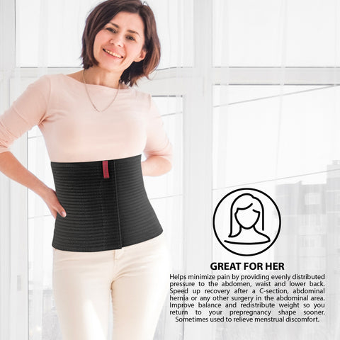 "10.25"" Abdominal Binder for Men and Women - Black"