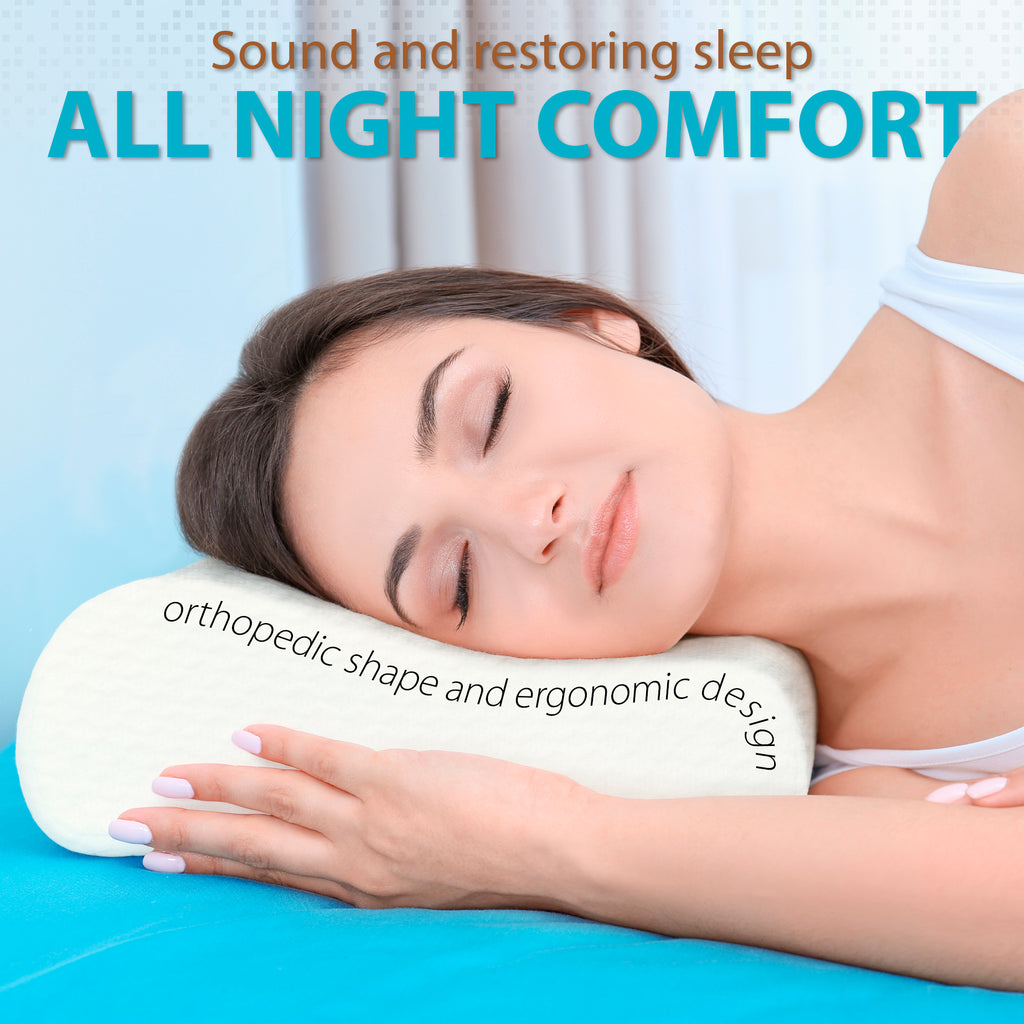 Orthopedic Contoured Memory Foam Pillow, Cervical Pillow (23.5 x 15.5 x 5.5/4.5)