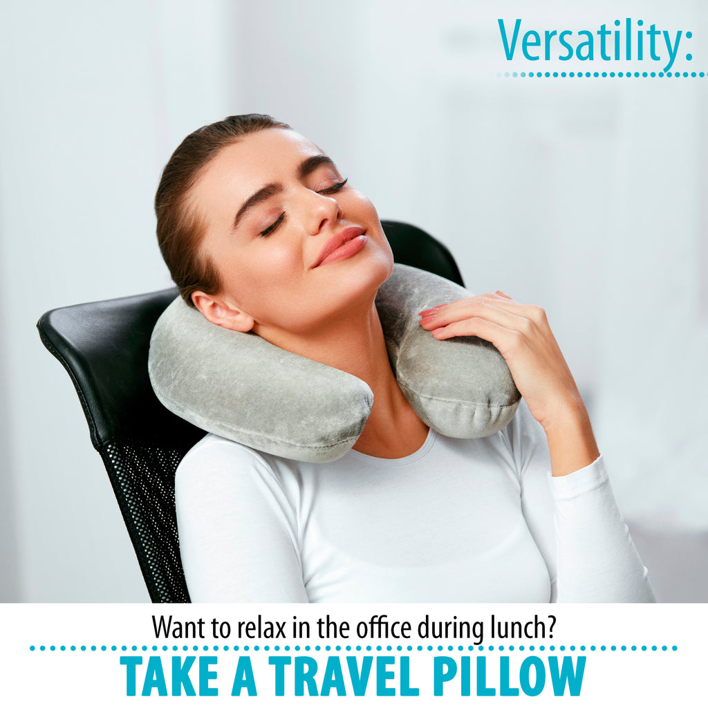 Memory Foam Travel Neck Pillow (12 x 10.5 x 4)