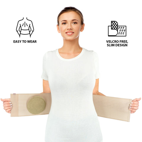 Image of Premium Umbilical Hernia Belt for Men and Women - Abdominal Support Binder - Beige