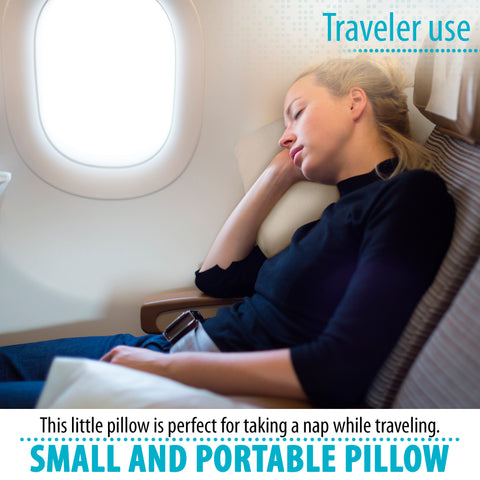 Image of Memory Foam Travel Pillow, Bed Pillow for Sleeping, Pillow for Neck Pain, Neck Support for Back, Stomach, Side Sleepers (16 x 10 x 3)