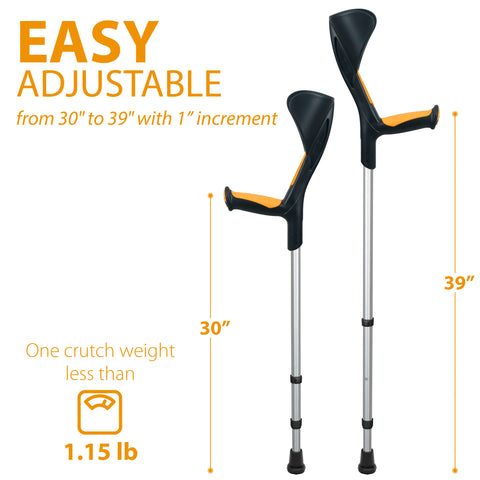 Image of Advance Adult Walking Forearm Crutches Ergonomic Handle with Comfy Grip