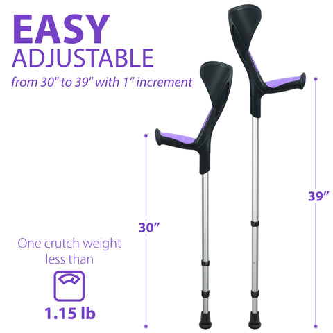 Advance Adult Walking Forearm Crutches Ergonomic Handle with Comfy Grip