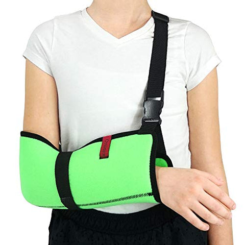 ORTONYX Kids Arm Support Sling Shoulder Immobilizer Brace – Breathable and Lightweight – Fully Adjustable / ACJB2410-GN