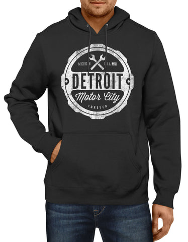 (0093) Hooded Sweatshirt Mens Detroit Motor City Forever Detroit Hoodie