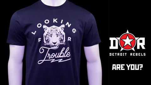 (0050) Detroit Tiger T-Shirt Looking For Trouble, Detroit T-Shirts LLC