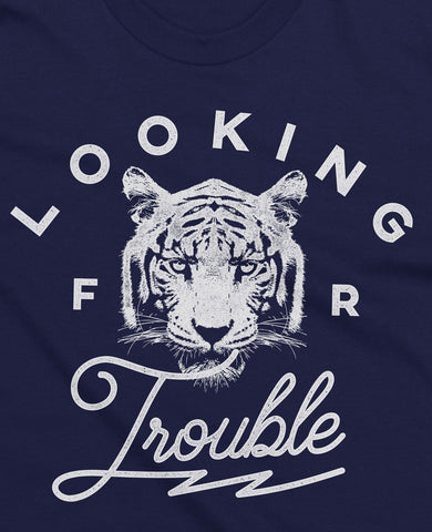 (0050) Detroit Tiger T-Shirt Looking For Trouble, Detroit T-Shirts LLC - Detroit T-Shirts | Detroit Apparel | Detroit Clothing