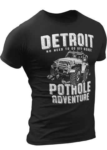 (0096) DETROIT POTHOLE ADVENTURE T-Shirt by DETROIT REBELS Brand