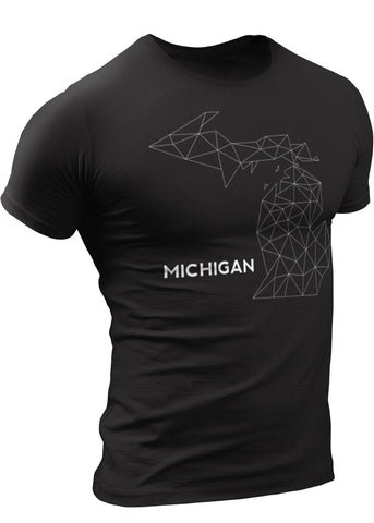(0082) Michigan Wire Map T-shirt, Detroit T-Shirts LLC, DETROIT REBELS