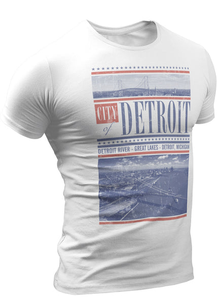 Ambassador Bridge Detroit River T-shirt by DETROIT★REBELS Brand