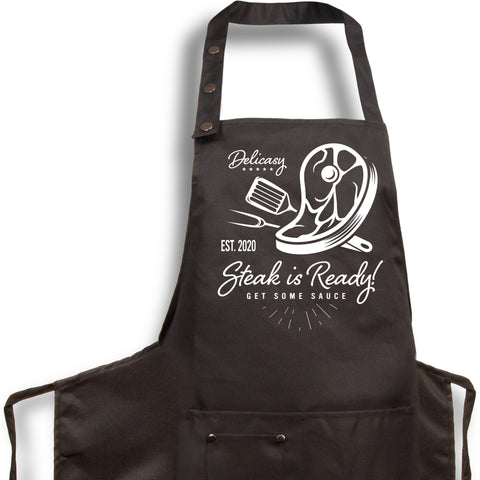 5. Funny Aprons - Steak Is Ready - Men Women - Fun Slogans - Waterproof BBQ Grilling