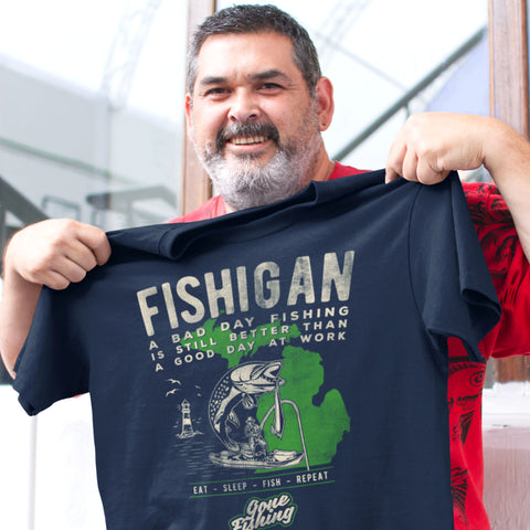 (0095) FISHIGAN Detroit T-Shirt by Detroit Rebels