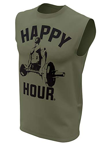 Happy Hour Muscle Tank Top for Men Crossfit Workout Weightlifting