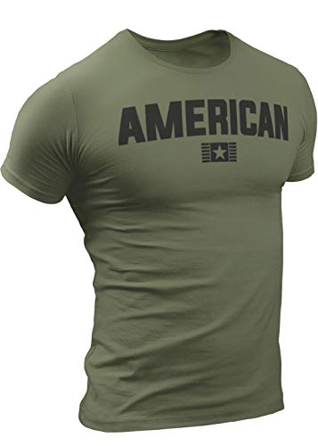 American T-Shirt for Men, Patriotic Military Style T-Shirt USA, Green Black Army