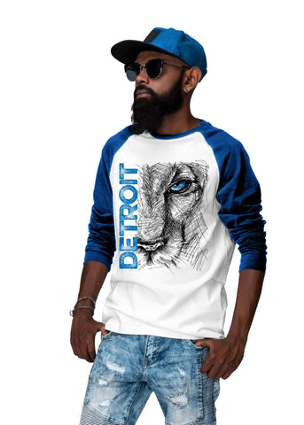 (0074) Lion Eye Detroit Heavy Cotton Three-Quarter Raglan Sleeve Baseball T-Shirt
