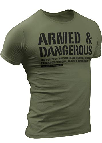 Armed and Dangerous T-Shirt for Men, Patriotic Military Style T-Shirt USA, Green Black Army (Small, 5. Armed and Dangerous Green)