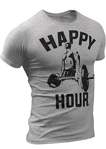 Happy Hour T-Shirt for Men Crossfit Workout Weightlifting Funny Gym Tshirt