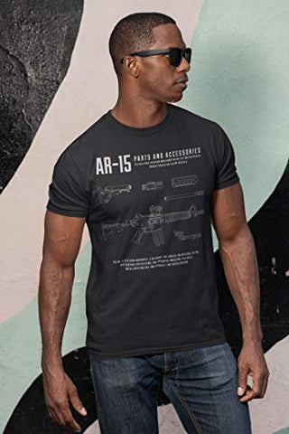 AR-15 T-Shirt for Men, Patriotic Military Style T-Shirt USA, Green Black Army (Small, 4. AR-15 Black)