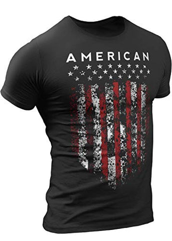 American Shield  T-Shirt for Men, Patriotic Military Style T-Shirt USA, Green Black Army