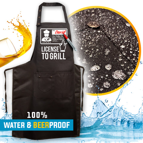 7. Funny Aprons - License to Grill Apron - New 2020 Designs - Men Women - Waterproof BBQ Grilling