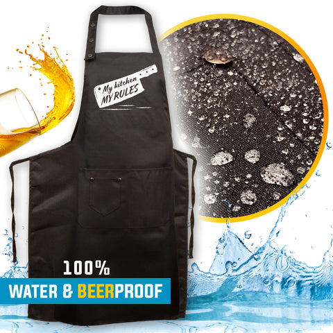 4. Funny Aprons - My Kitchen, My Rules! - Men Women - Fun Slogans - Waterproof BBQ Grilling