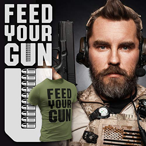 Feed Your Gun T-Shirt for Men, Patriotic Military Style T-Shirt USA, Green Black Army