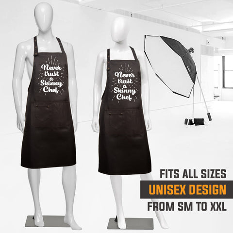 6. Funny Aprons - Never Trust a Skinny Chef Apron - Men Women - Waterproof BBQ Grilling