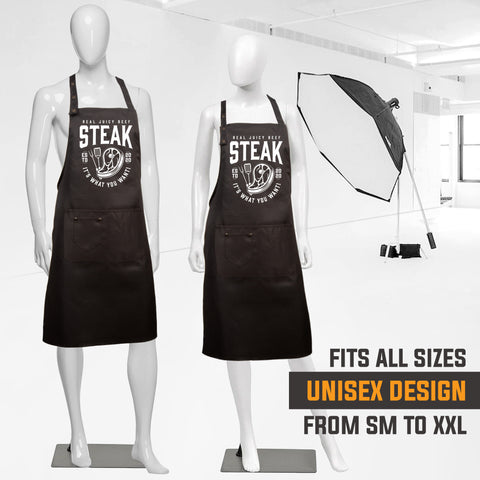 8. Funny Aprons - Steak It What You Want Apron - 2020 Designs - Men Women - Waterproof BBQ Grilling