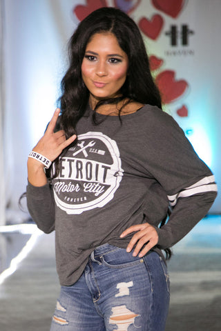 DETROIT ★ REBELS | Oversized Crew Neck Pullover with Stripes (11280DR-drgray) - Detroit T-Shirts | Detroit Apparel | Detroit Clothing