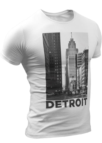 (0101) City of Detroit Photo White and Black T-Shirts by Detroit Rebels Brand